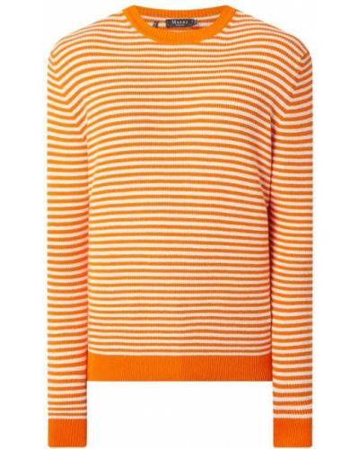 Pomarańczowy sweter w paski bawełniany Maerz Muenchen