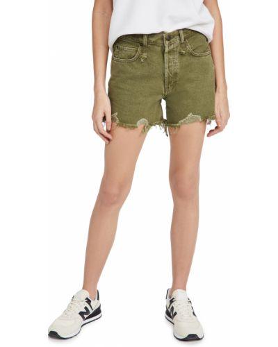 Зеленые хлопковые джинсовые шорты с карманами Free People