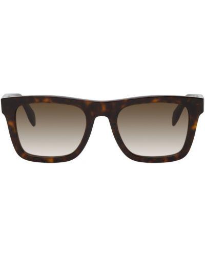 Коричневые кожаные солнцезащитные очки квадратные Alexander Mcqueen