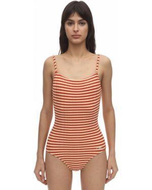 Слитный купальник в полоску - оранжевый Solid & Striped