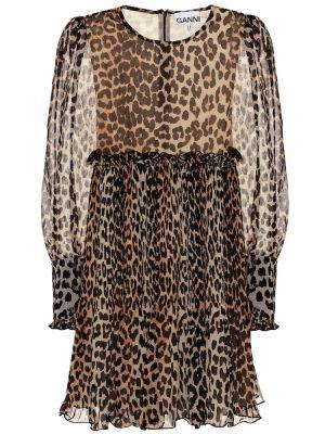 Платье мини леопардовое шифоновое Ganni
