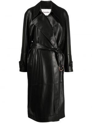 Czarny długi płaszcz skórzany z długimi rękawami Nanushka