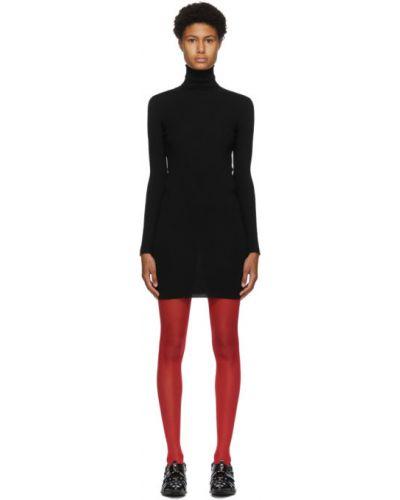 Шерстяное черное платье макси с длинными рукавами Junya Watanabe