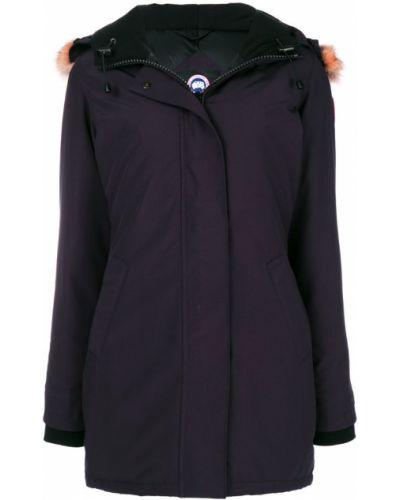 Длинная куртка хлопковая синий Canada Goose