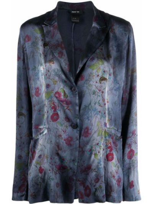 Шелковый синий пиджак с воротником Avant Toi