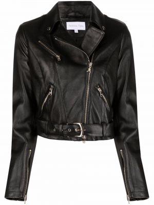Черная кожаная куртка на молнии Patrizia Pepe