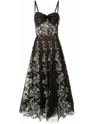 Расклешенное черное платье из фатина Marchesa