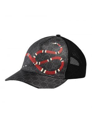 Бейсболка с принтом - черная Gucci