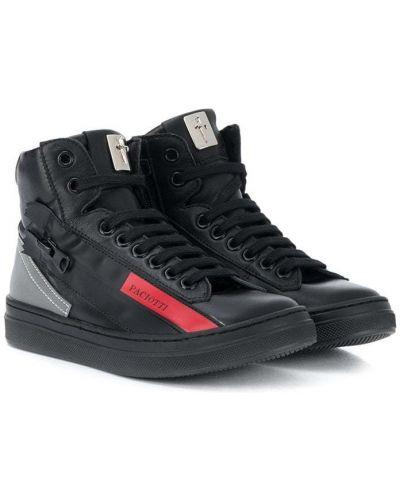 Кожаные черные кроссовки на шнуровке Cesare Paciotti Kids