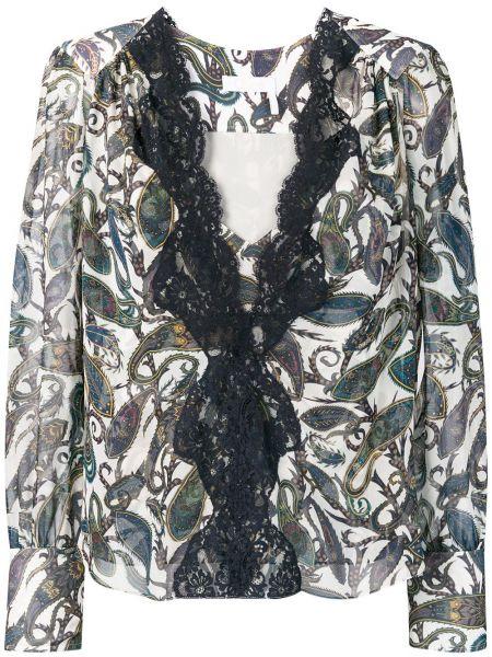 Шелковая кружевная блузка свободного кроя Chloé