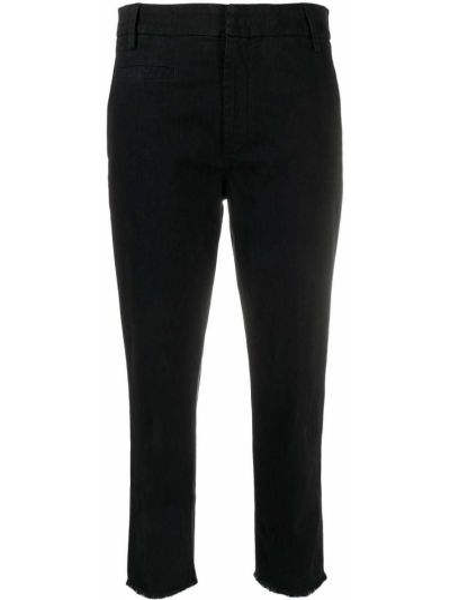 Прямые черные укороченные брюки с карманами Dondup