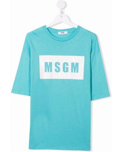 Biała t-shirt bawełniana Msgm Kids