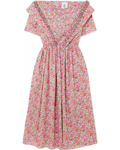 Różowa sukienka midi bawełniana z printem Horror Vacui