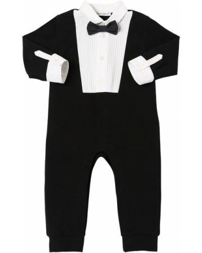 Bawełna z rękawami czarny pajacyk z mankietami Dolce And Gabbana