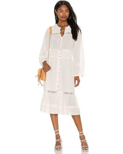 Beżowa sukienka midi koronkowa bawełniana Cleobella