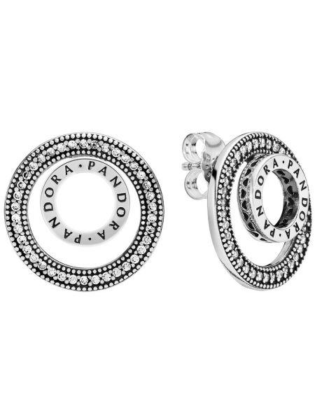 С цирконием серебряные серебряные серьги трансформер двусторонние Pandora