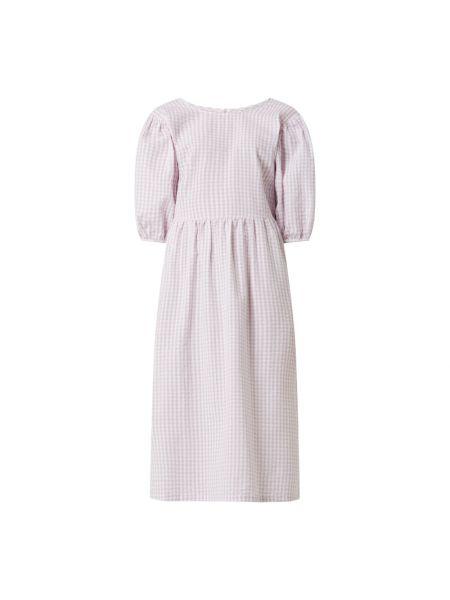 Fioletowa sukienka rozkloszowana bawełniana Review