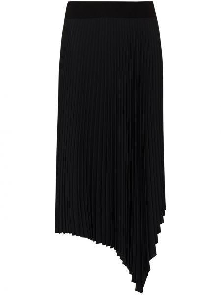 Плиссированная черная юбка миди из вискозы Joseph