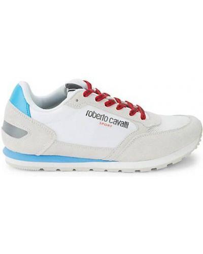 Białe sneakersy sznurowane koronkowe Roberto Cavalli Sport
