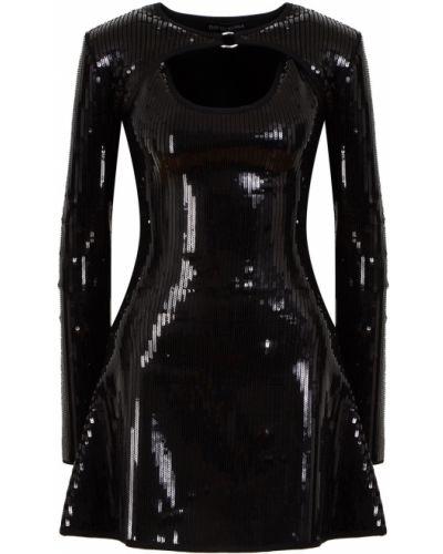 Приталенное черное платье мини с пайетками David Koma