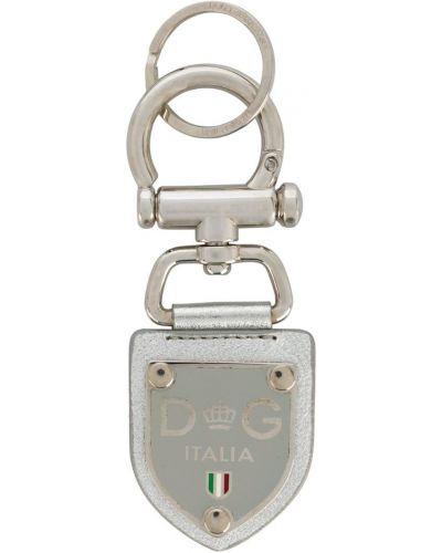 Брелок серебряный с принтом Dolce & Gabbana