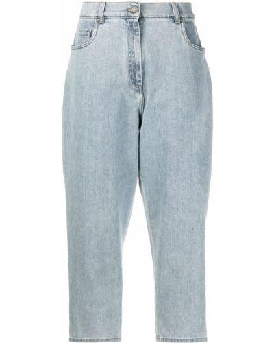 Синие укороченные джинсы на молнии с нашивками Fabiana Filippi