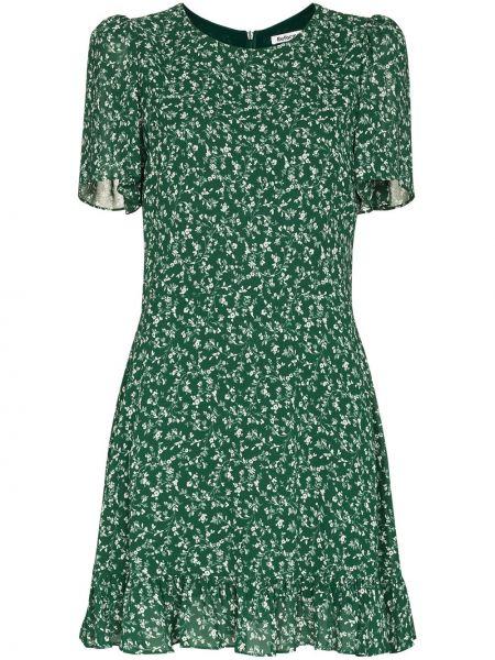 Платье мини в цветочный принт - зеленое Reformation