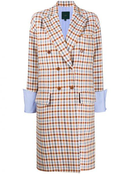 Хлопковый длинное пальто двубортный с карманами Jejia