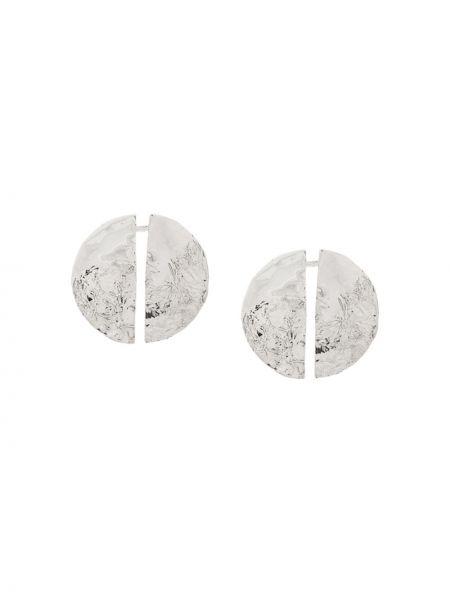Серебряные серьги-гвоздики круглые на кнопках Misho
