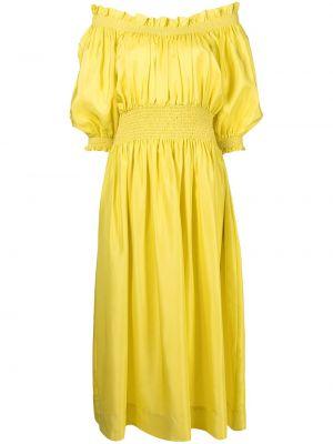 Шелковое платье миди - желтое Cynthia Rowley
