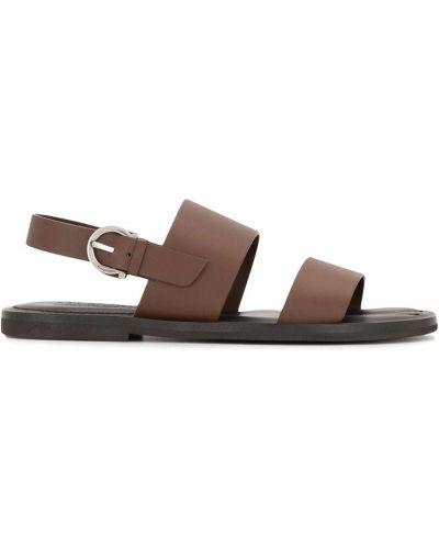 Otwarty czarny skórzany sandały otwarty palec u nogi Salvatore Ferragamo