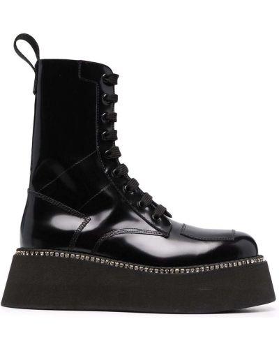 Ботильоны на шнуровке - черные Gcds