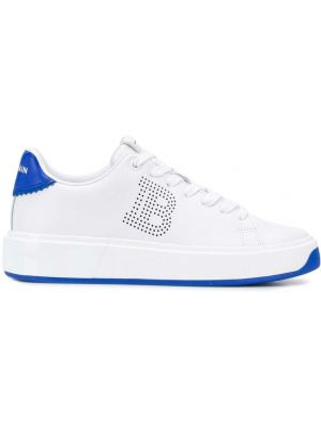 Кожаные белые кроссовки на шнуровке с перфорацией Balmain
