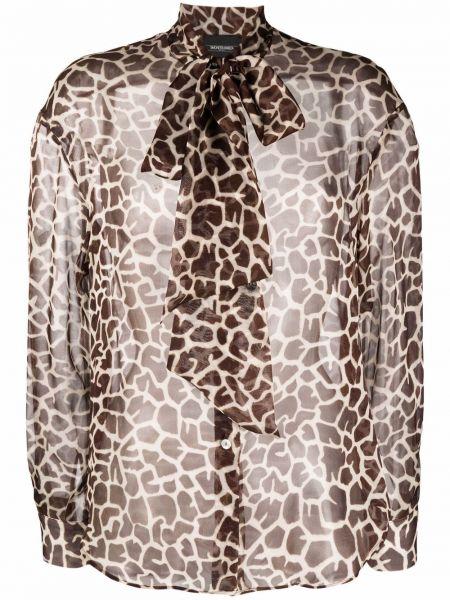 Коричневая блузка с манжетами Simonetta Ravizza