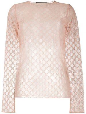Różowy top z haftem z długimi rękawami okrągły dekolt Gucci