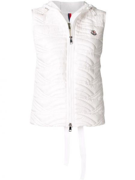 Прямая белая стеганая жилетка с капюшоном на молнии Moncler