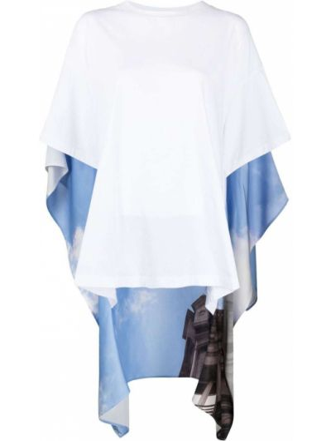 Biały t-shirt bawełniany z printem Mm6 Maison Margiela