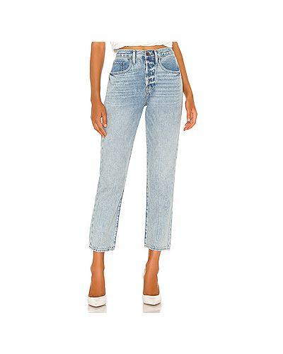 Прямые хлопковые синие прямые джинсы на пуговицах Frame