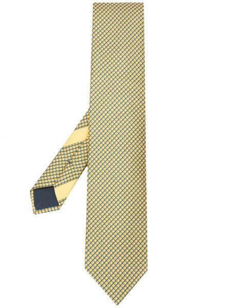Krawat z printem - niebieski Ermenegildo Zegna