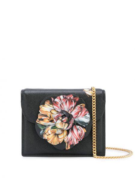 Кожаная черная маленькая сумка с карманами с аппликациями Oscar De La Renta