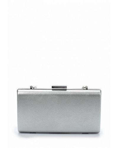 Кожаный клатч серебряного цвета Olga Berg