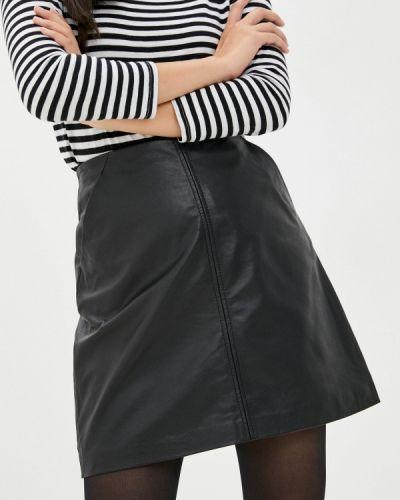 Черная кожаная юбка Oakwood
