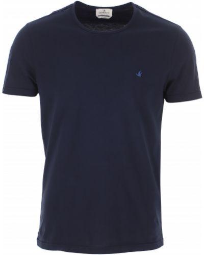 T-shirt bawełniany krótki rękaw granatowy Brooksfield