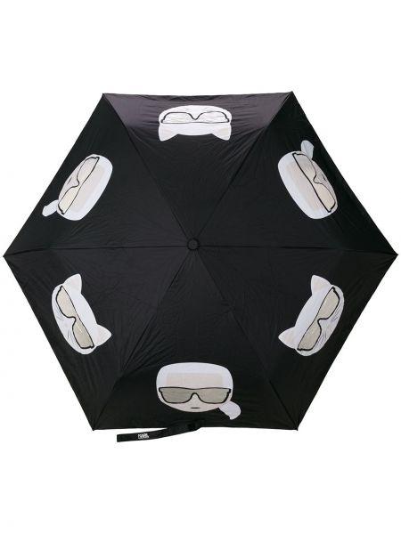 Нейлоновый черный зонт Karl Lagerfeld