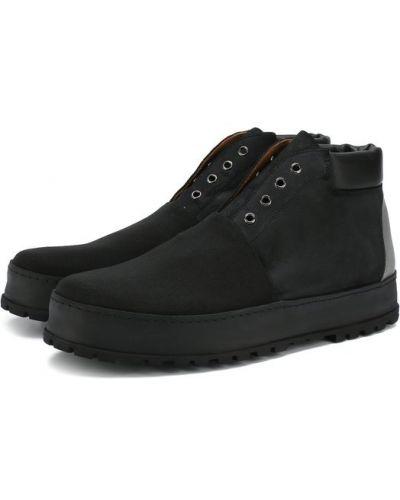 Кожаные ботинки высокие из нубука Premiata