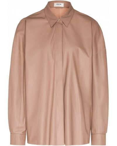 Кожаная с рукавами бежевая блузка Izeta