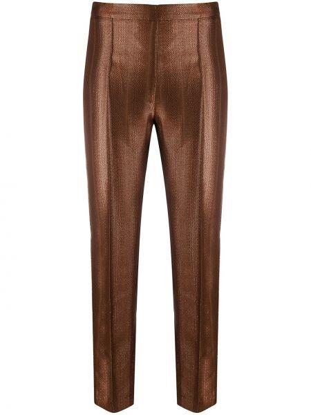 Брючные коричневые прямые брюки из вискозы Hebe Studio