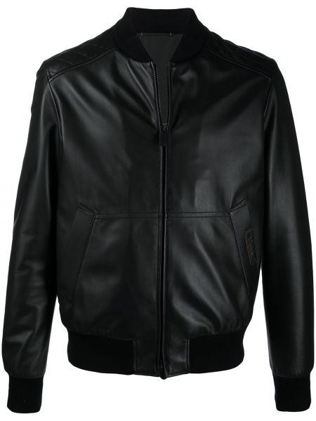Черная стеганая кожаная куртка Ermenegildo Zegna