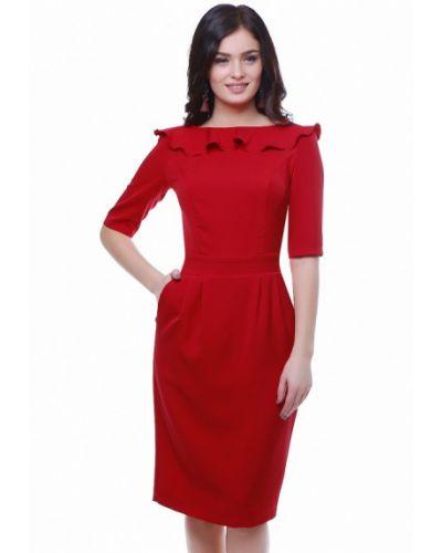 Красное платье осеннее Grey Cat
