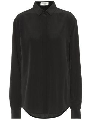 Шелковая блузка - черная Saint Laurent